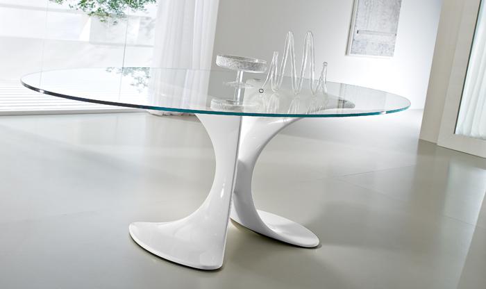 Tavoli ovali moderni allungabili tavolo in vetro e acciaio - Epierre