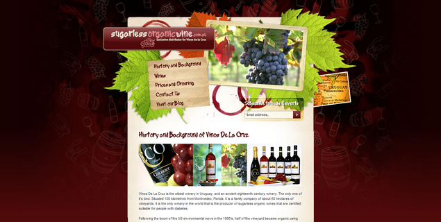 Sugarless organic wine