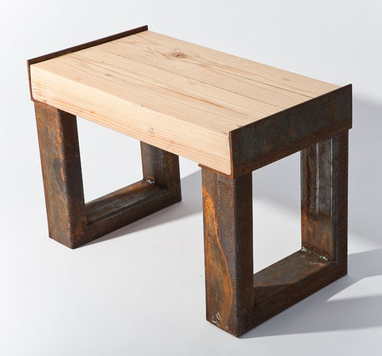 Contempory Reclaimed Wood Bench