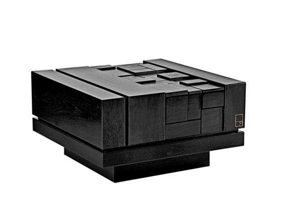 Black Lacquer Oak Modern Coffee Table with Geometric Pattern