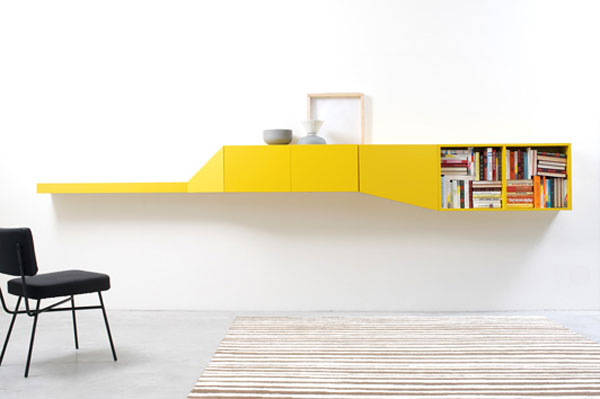 Colorful hillside modular shelving system